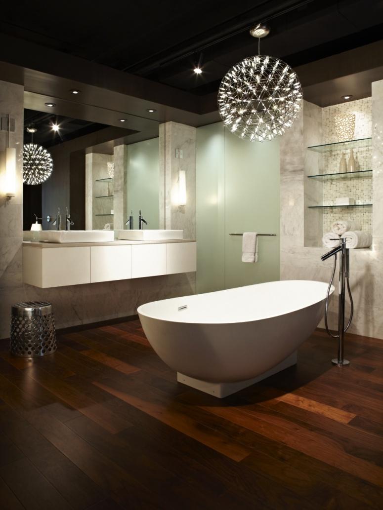 nowoczesna łazienka ciemne panele na podłodze  Inspiracje wnętrza  Pinhouse