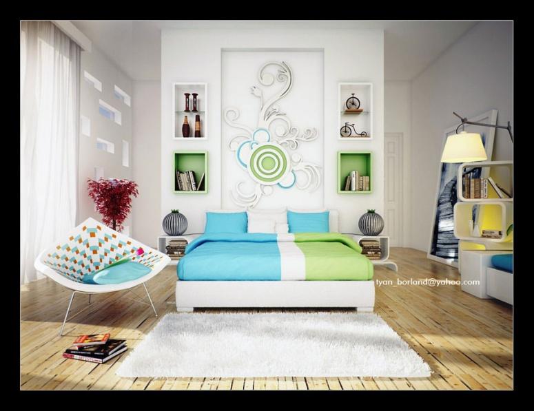 nowoczesna sypialnia kolorowe akcenty  Inspiracje wnętrza  Pinhouse