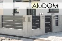 nowoczesne ogrodzenie z poziomych profili aluminiowych