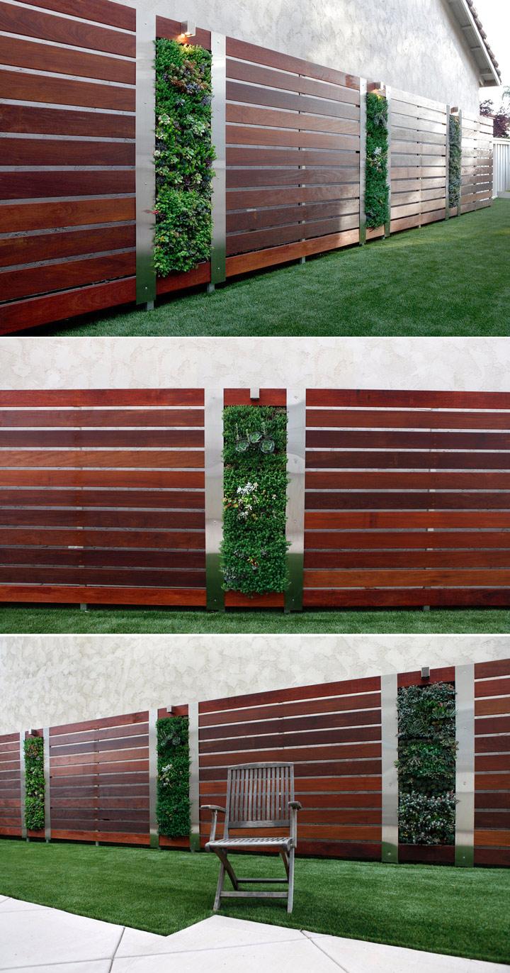 Nowoczesne ogrodzenie stalowo drewniane