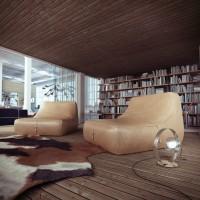 nowoczesna domowa biblioteka