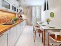 Delikatna kuchnia w bieli z dodatkiem drewna