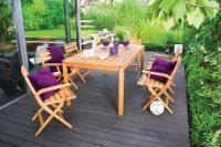 Zestaw drewnianych mebli tarasowych dla 6 osób