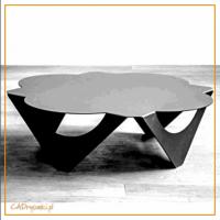 Stół jednobryłowy, stalowy z blatem w kształcie koniczynki