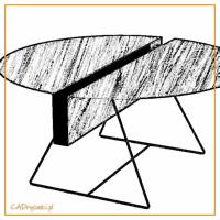 Stół okrągły z otworem wzdłuż blatu