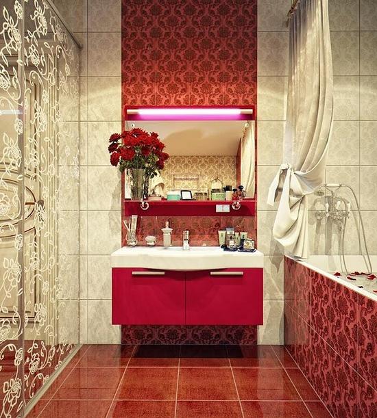 Czerwona łazienka Wnętrza Inspiracje