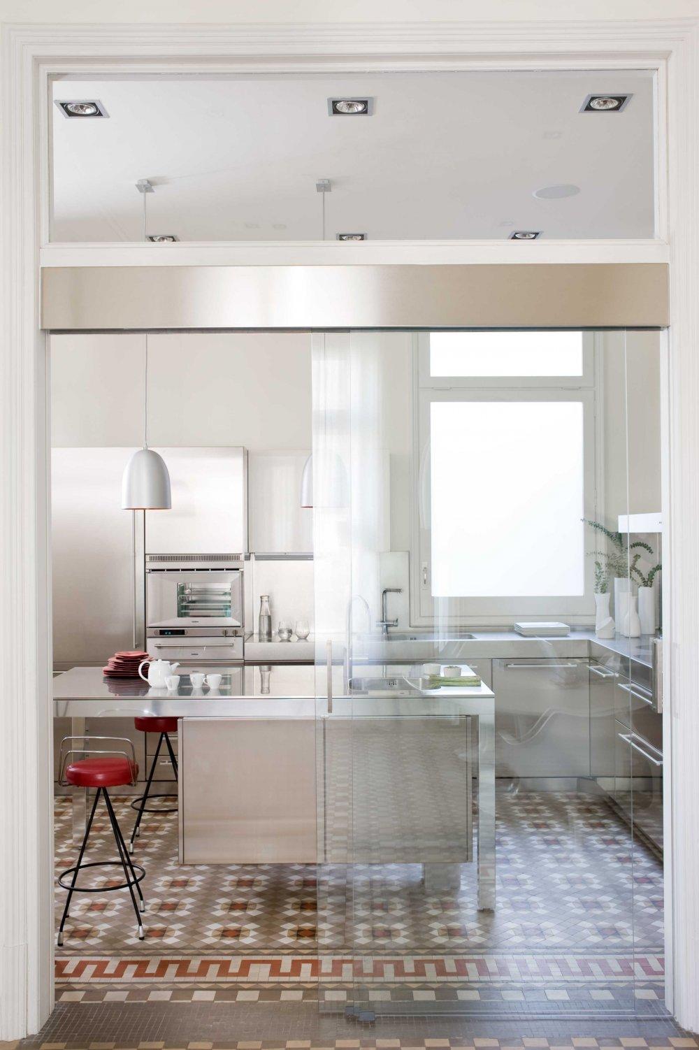 Kuchnia  stal i szkło  Wnętrza inspiracje
