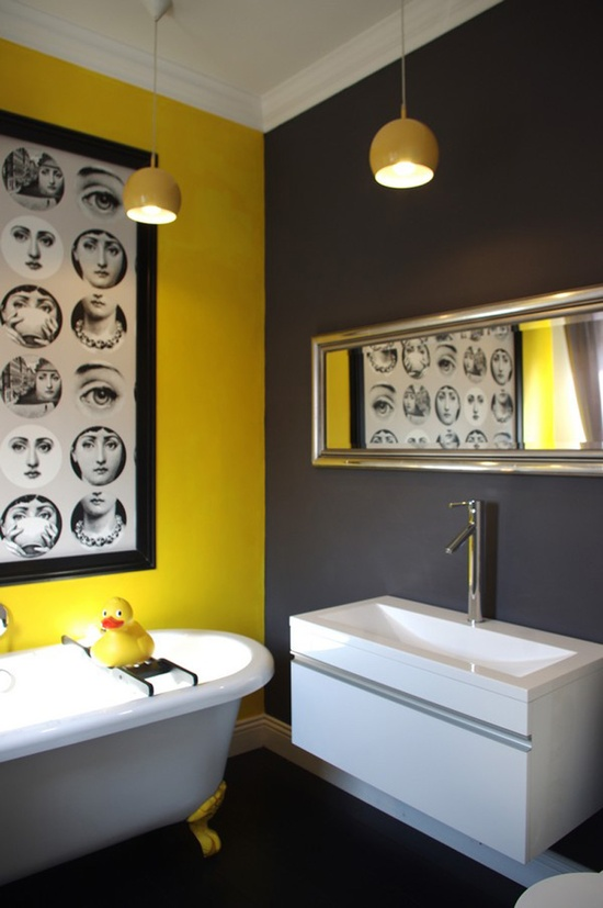 żółta łazienka Wnętrza Inspiracje